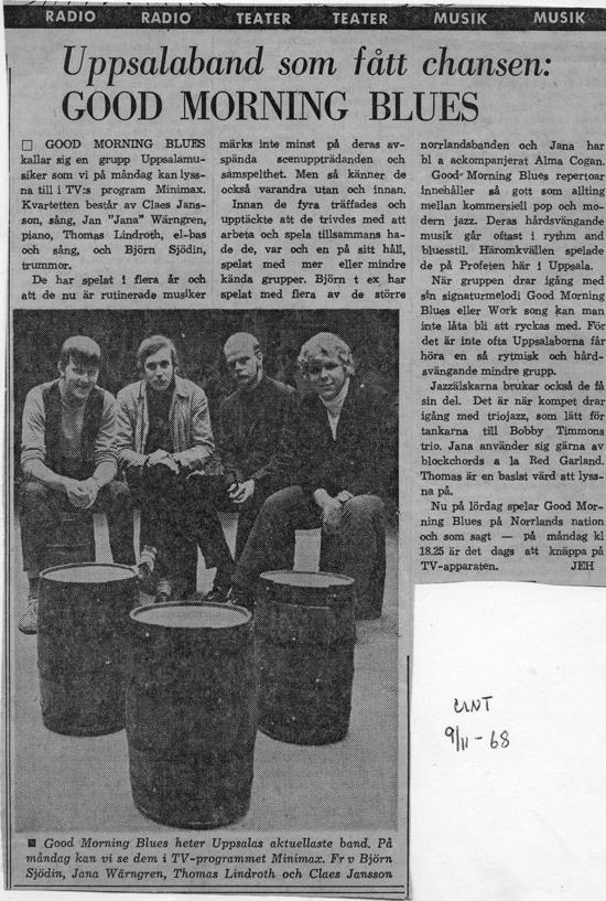 Artikel i Upsala Nya Tidning 9/11 1968 inför TV-medverkan